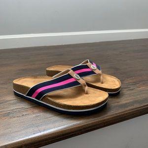 Tommy Hilfiger Pink Tan Stripe Geniva Thong Sandal